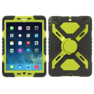 Pepkoo Spider Series for iPad Air 5 Silicone PC Extreme Heavy Duty Cover - Green / Black