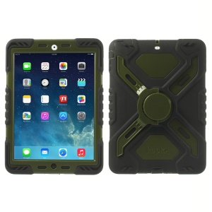 Pepkoo Spider Series for iPad Air 5 Silicone PC Extreme Heavy Duty Cover - Army Green / Black