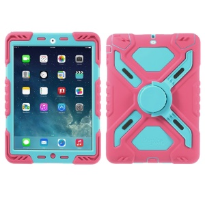 Pepkoo Spider Series for iPad Air 5 Silicone PC Extreme Heavy Duty Shell - Blue / Rose