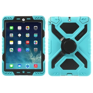 Pepkoo Spider Series for iPad Air 5 Silicone PC Extreme Heavy Duty Case - Black / Blue