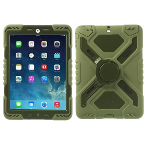Pepkoo Spider Series for iPad Air 5 Silicone PC Extreme Heavy Duty Case - Army Green / Light Green