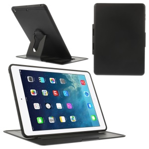 360 Degree Rotary Stand Plastic & TPU Flip Case for iPad Air - Black