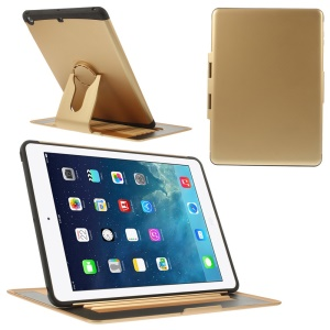 360 Degree Rotary Stand Plastic & TPU Flip Case for iPad Air - Gold