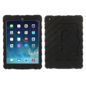 Tyre Texture Detachable Silicone & PC Hybrid Case w/ Kickstand for iPad Air - Black