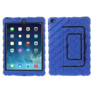 Tyre Texture Detachable Silicone & PC Hybrid Cover w/ Kickstand for iPad Air - Blue