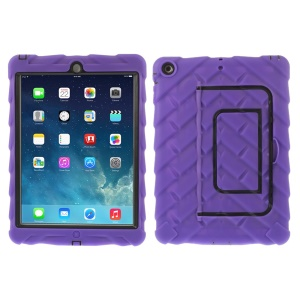 Tyre Texture Detachable Silicone & PC Hybrid Shell w/ Kickstand for iPad Air - Purple