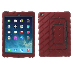 For iPad Air Tyre Texture Impact Resistant Silicone & PC Protection Case w/ Kickstand - Red