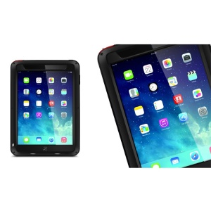 LOVE MEI Powerful Metal + Silicone Hybrid Case w/ Temperd Glass Screen Protector for iPad Air - Black