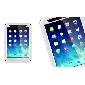 LOVE MEI Powerful Metal + Silicone Hybrid Cover w/ Temperd Glass Screen Protector for iPad Air - White