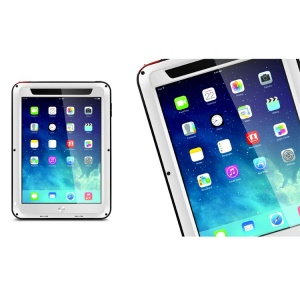 LOVE MEI Powerful Metal + Silicone Hybrid Shell w/ Temperd Glass Screen Protector for iPad Air - White / Black