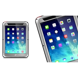 LOVE MEI Powerful Metal + Silicone Protective Case w/ Temperd Glass Screen Protector for iPad Air - Silver