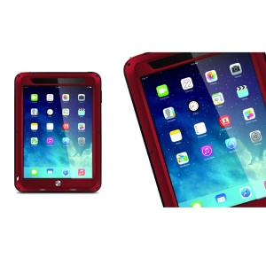 LOVE MEI Powerful Metal + Silicone Protective Cover w/ Temperd Glass Screen Protector for iPad Air - Red