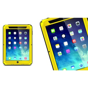 LOVE MEI Powerful Metal + Silicone Protective Shell w/ Temperd Glass Screen Protector for iPad Air - Yellow