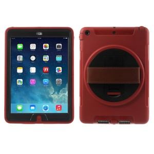 For iPad Air Heavy Duty PC + TPU Hybrid Cover w/ Hand Strap & 360 Rotary Stand & Screen Protector - Red