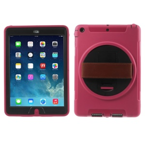 For iPad Air Heavy Duty PC + TPU Hybrid Shell w/ Hand Strap & 360 Rotary Stand & Screen Protector - Rose