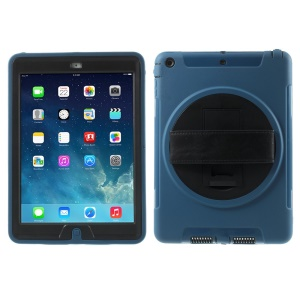 For iPad Air Heavy Duty PC + TPU Protection Case w/ Hand Strap & 360 Rotary Stand & Screen Protector - Blue