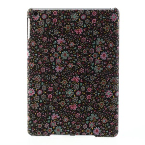 Black Background Small Flowers Pattern Cloth Coated Hard Shell for iPad Air