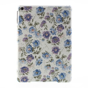 For iPad Air 5 Blue & Purple Flowers Fabric Coated Hard Shell