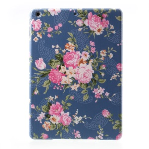 For iPad Air 5 Peony Flower on Dark Blue Background Hard Cover
