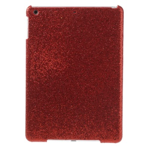 Flash Sequins Leather Coated Hard Plastic Case for iPad Air - Red