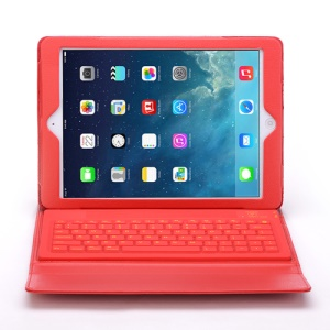 For iPad Air 2 in 1 Bluetooth Keyboard Case Leather Stand Cover - Red