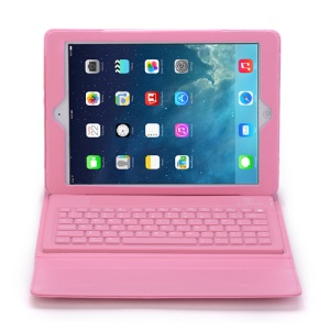 For iPad Air 2 in 1 Bluetooth Keyboard Cover Leather Case - Pink