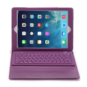 2 in 1 Leather Bluetooth Keyboard Case w/ Stand for iPad Air - Purple