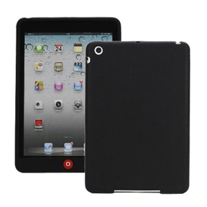 Soft Silicone Case Cover with Chocolate Home Button for iPad Mini - Black