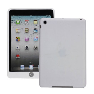 Soft Silicone Case Cover with Chocolate Home Button for iPad Mini - White