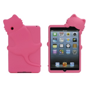 Cute 3D Diffie Kiki Cat Silicone Cover Case with Dustproof Plug for iPad Mini - Rose