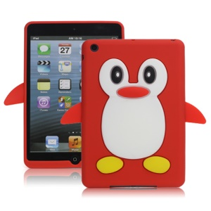 Hot 3D Penguin Soft Silicone Rubberized Skin Case Cover for iPad Mini - Red