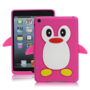 Hot 3D Penguin Soft Silicone Rubberized Skin Case Cover for iPad Mini - Rose