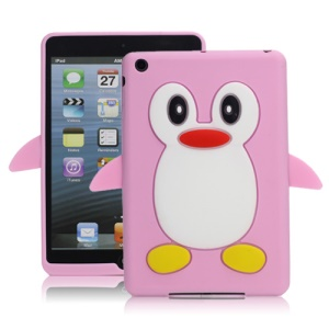 Hot 3D Penguin Soft Silicone Rubberized Skin Case Cover for iPad Mini - Pink