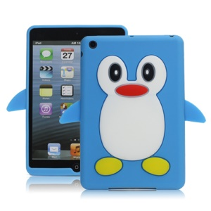 Hot 3D Penguin Soft Silicone Rubberized Skin Case Cover for iPad Mini - Light Blue