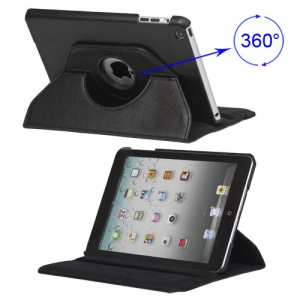 360 Degree Rotary Leather Case with Elastic Strap for iPad Mini - Black