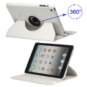 360 Degree Rotary iPad Mini Leather Case with Elastic Strap - White