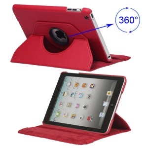 360 Degree Rotary Leather Case Cover for iPad Mini - Red