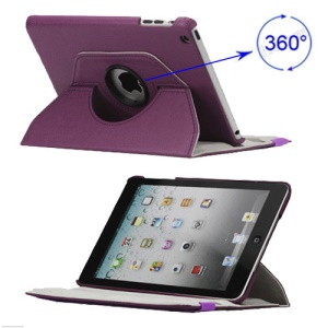 360 Degree Rotary Leather Case Cover for iPad Mini - Purple