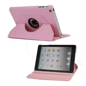 360 Degree Rotary Leather Case Cover for iPad Mini - Pink