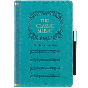 Ozaki Wisdom Treasure Music Book Wake Sleep Leather Stand Case for iPad Mini with Free Stylus - Light Green
