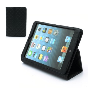 Grid Pattern Portfolio Leather Case Cover w/ Built-in Stand for iPad Mini - Black