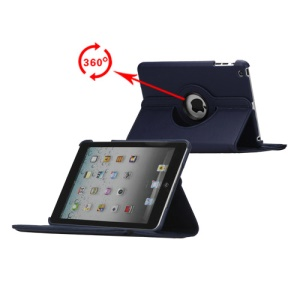 360 Degree Rotating PU Leather Case Cover Stand for iPad Mini - Dark Blue
