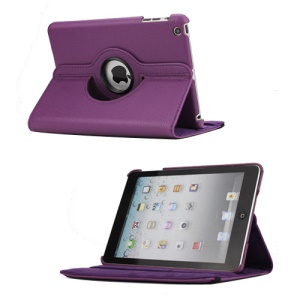 360 Degree Rotating PU Leather Case Cover Stand for iPad Mini - Purple