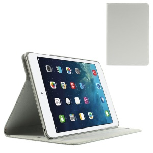 Doormoon Genuine Leather Folio Smart Cover for iPad Mini w/ Stand - White