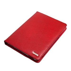 Seenda IC10 Fashion Snake Texture Genuine Leather Smart Cover Stand for iPad Mini - Red