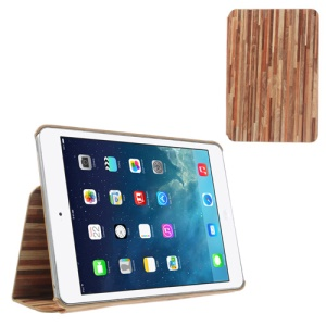 Folio Style Wood Skin PU Leather Case Cover for iPad Mini - Brown