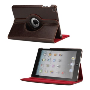 360 Degree Rotating Folio PU Leather Stand Case Cover for iPad Mini - Dark Brown