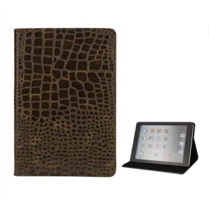 Crocodile Leather Case Cover Stand for iPad Mini - Brown