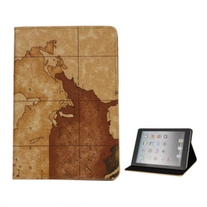 World Map PU Leather Case Cover with Stand for iPad Mini - Brown