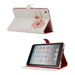 Elegant Dandelion Litchi Leather Stand Case Cover for iPad Mini - White / Red